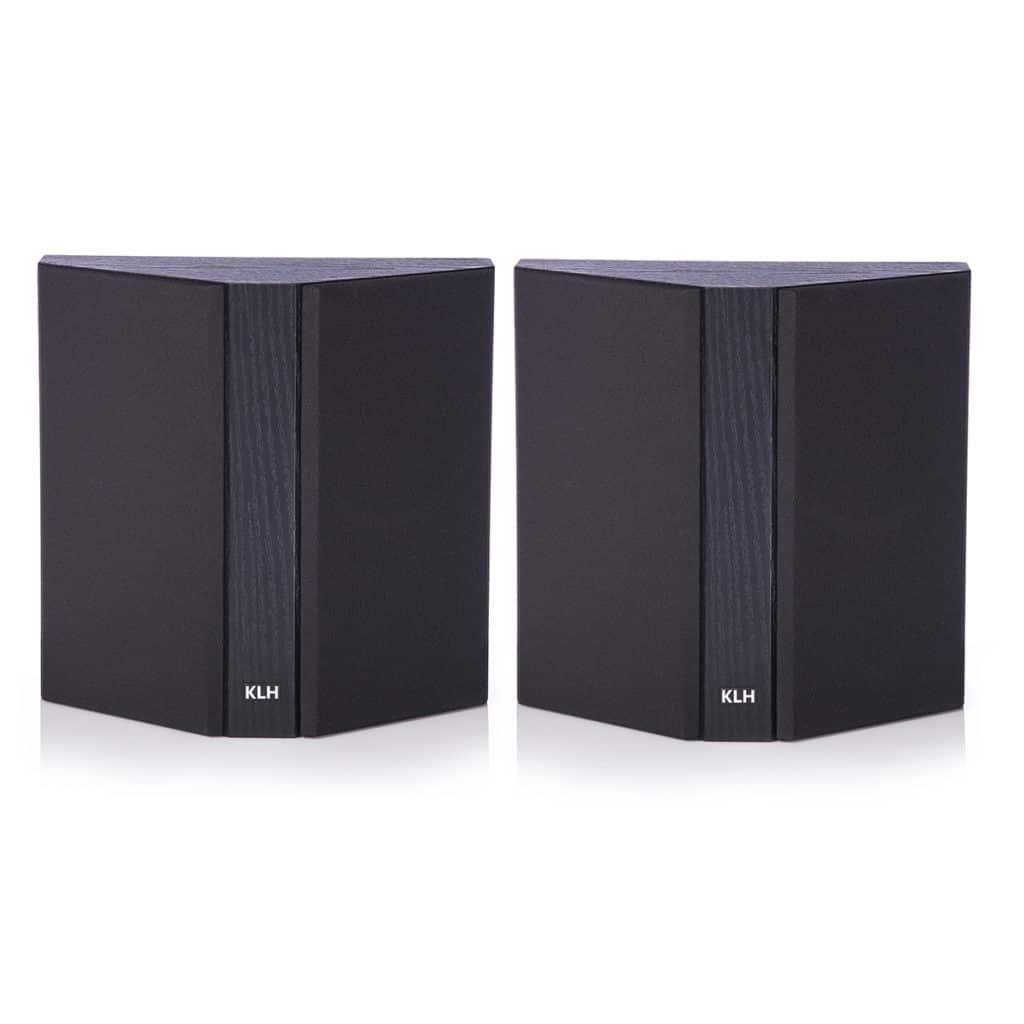 KLH Beacon Surround Sound Speaker Grille Pair (Black Oak)